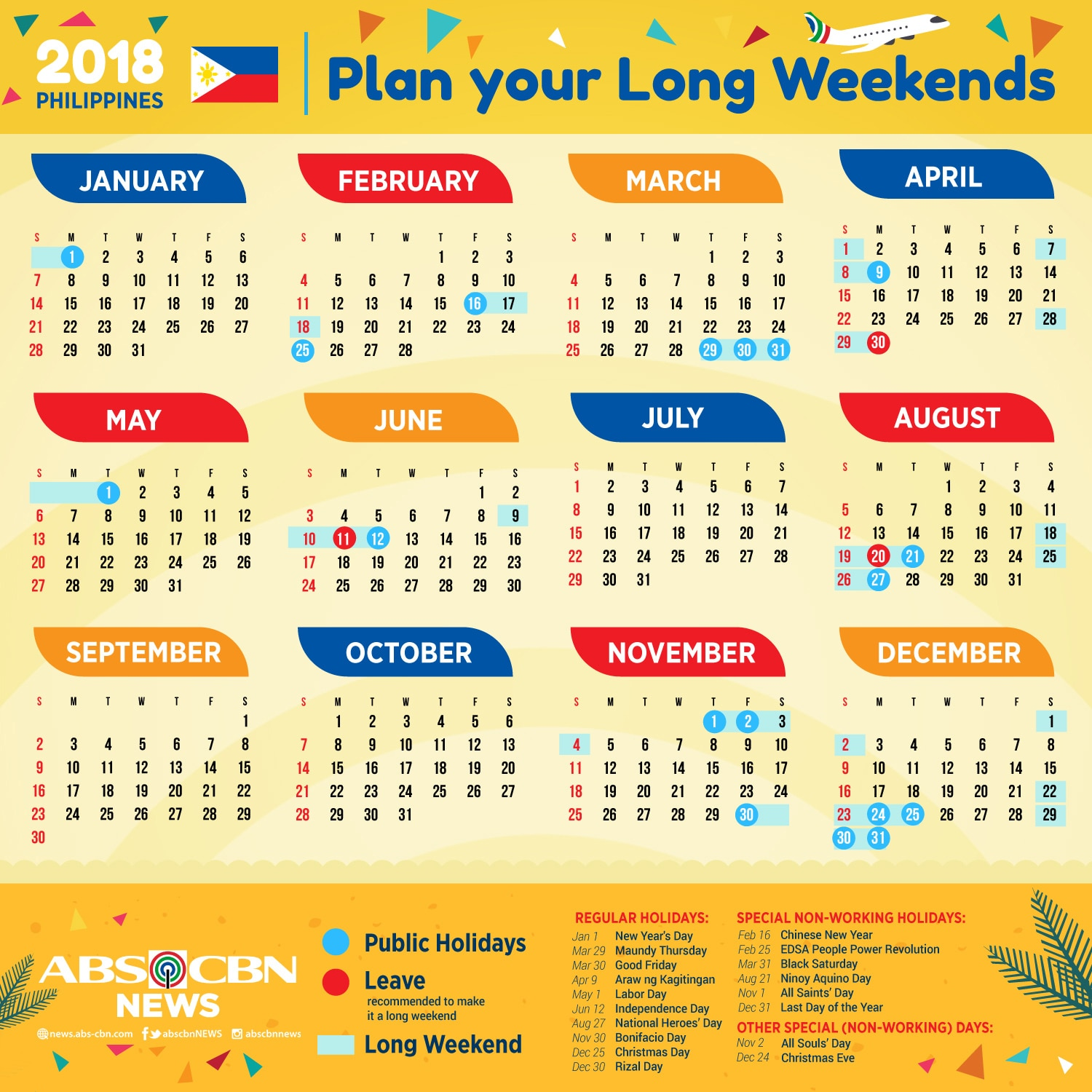 your 2018 holidays and long weekends calendar abs cbn news
