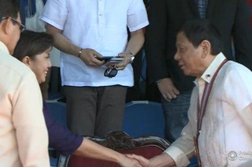 LOOK: One seat separates Duterte, Robredo at PMA rites
