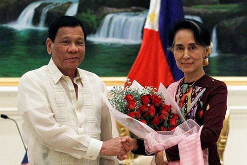 Duterte meets Nobel laureate Suu Kyi
