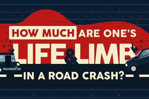 How much are one's life and limb in a road crash?