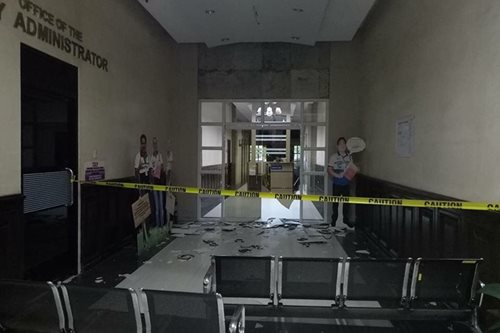 LOOK: Strong quake shatters glass door of mayor's office