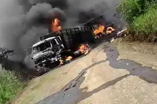 SAPUL SA VIDEO: 3 truck, pinasabog ng mga komunistang rebelde sa Misamis Oriental