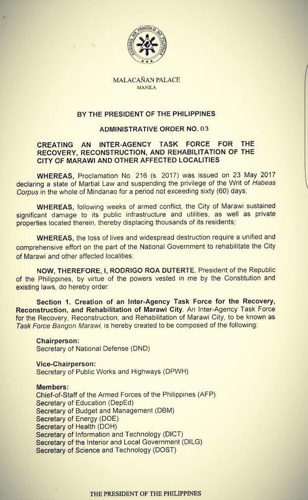 Duterte orders creation of 'Task Force Bangon Marawi' 1