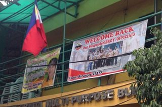Unusual welcome: Barangay staff put up odd tarpaulin for returning officials