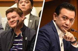 WATCH: Paolo Duterte reacts to Trillanes' Senate presentation