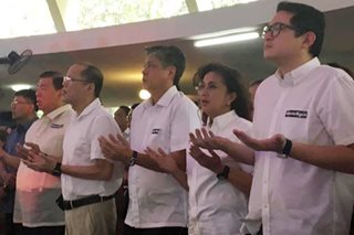Ex-President Aquino, Robredo join mass for EJK, martial law victims