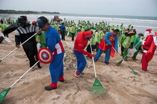 Superheroes respond to 'garbage emergency'