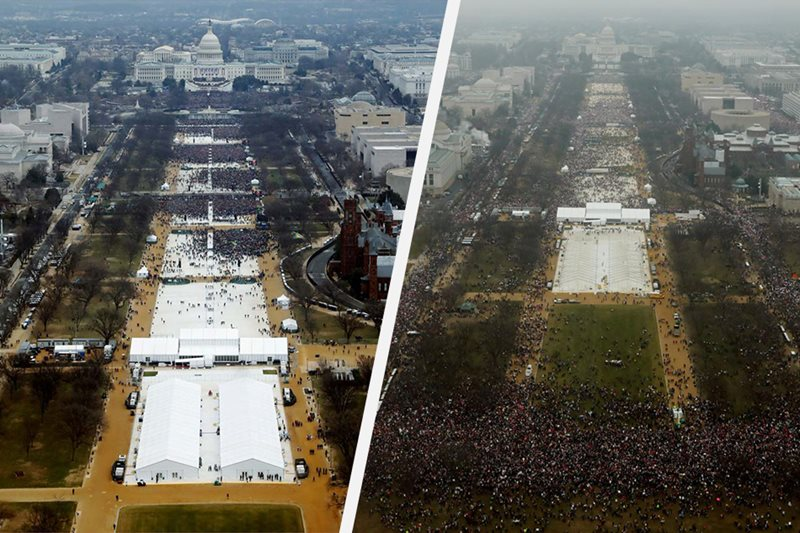 LOOK: Crowds for and against Trump
