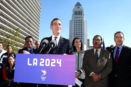 As LA seeks Olympics, mayor denounces Trump travel ban
