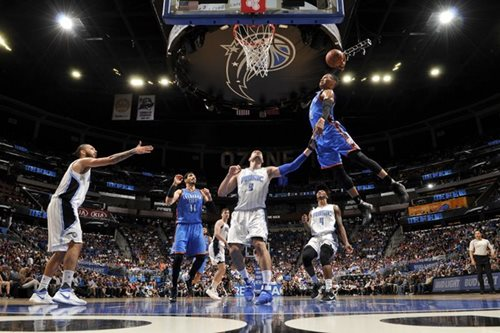 Magnificent Westbrook hits 57 as Thunder edge Orlando