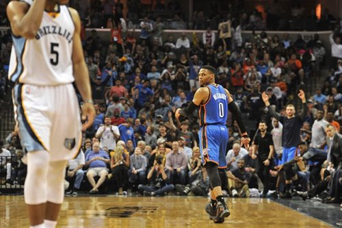 Westbrook kept waiting as Thunder down Grizzlies