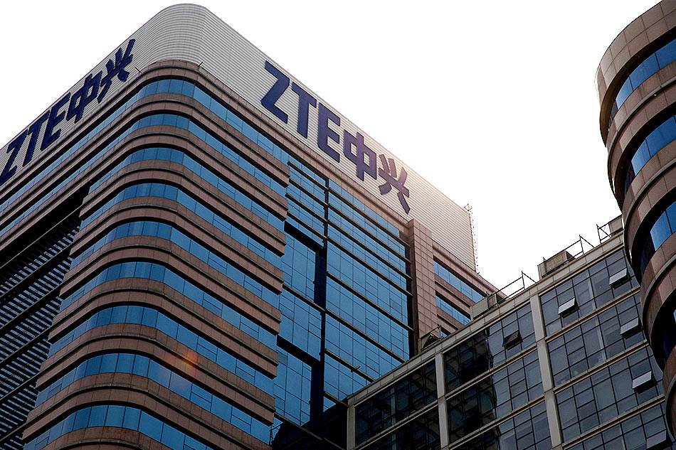 The logo of ZTE Corp is seen on its building in Beijing China