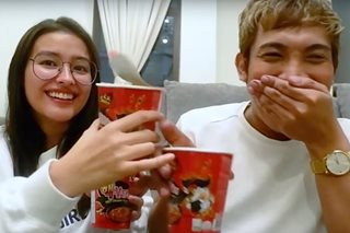 Still poised: Liza even raps in spicy noodle challenge