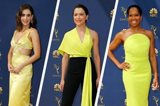 Sunny yellows shine on gold carpet at TV's Emmy awards