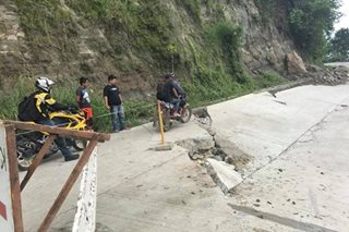 LOOK: Road cracks as 3 landslides hit Negros town