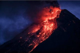 Mayon Volcano spews lava fountain, ash plume anew