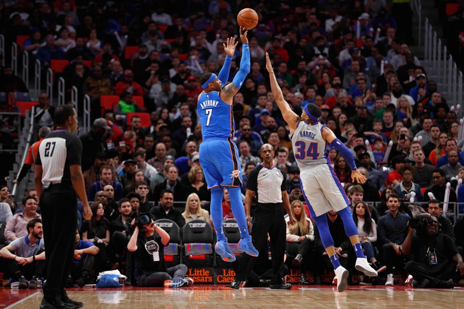 Anthony reaches milestone as Thunder beat Pistons 121-108