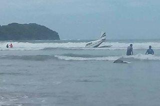 Eroplano bumagsak sa beach sa Palawan