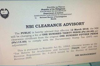 NBI clearance, magtataas presyo na rin dahil sa TRAIN law