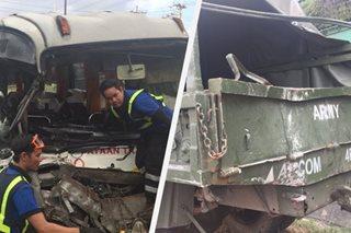 3 sugatan sa salpukan ng bus, military truck sa NLEX