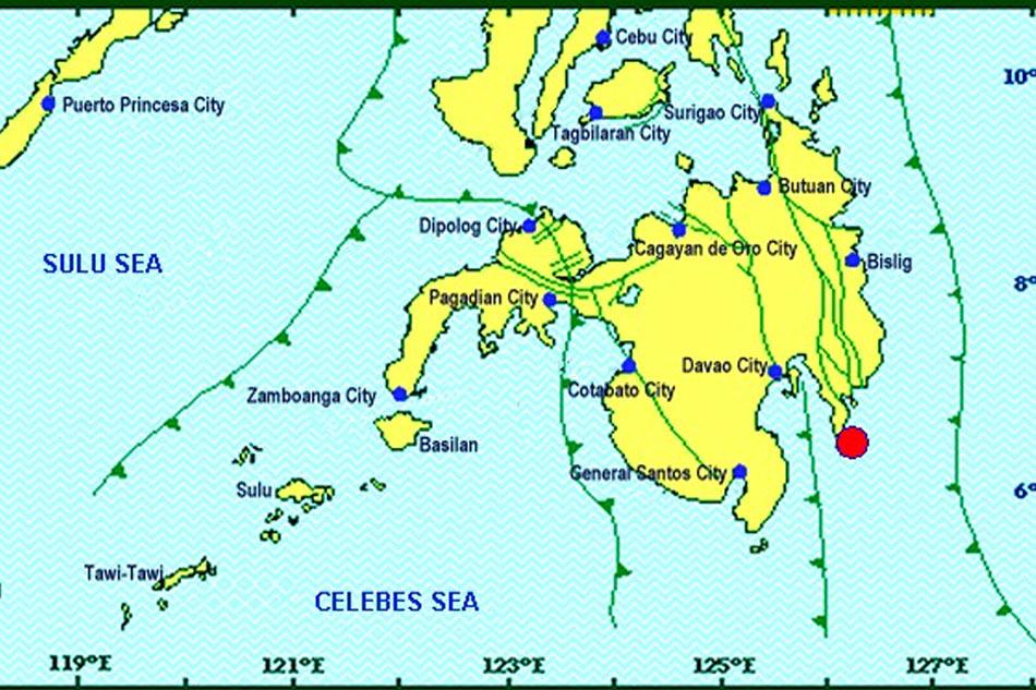 Magnitude 5.4 quake strikes off Davao Oriental town