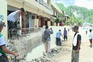 Mga istrukturang lumabag sa easement zone sa El Nido, giniba