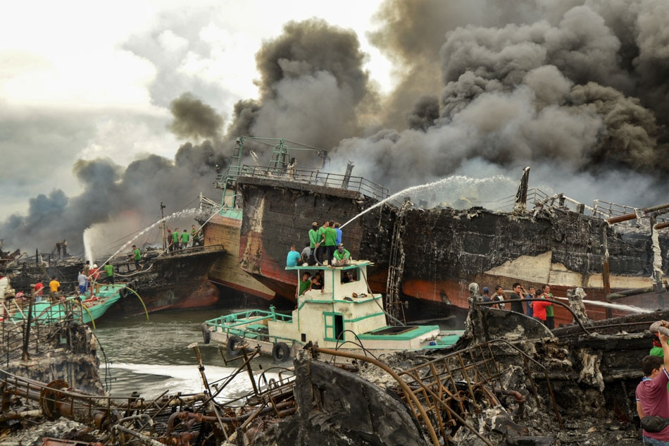 Bali boats on fire