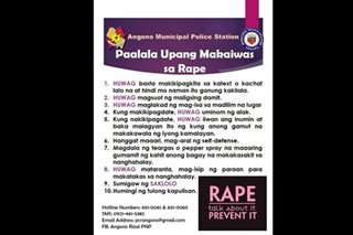 Angono cops' anti-rape tips draw flak