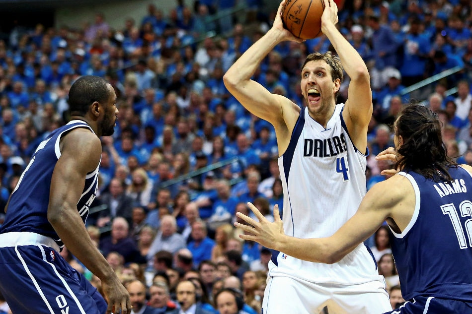 Nba mavericks nowitzki agree to 5m deal g ferrell agrees to two 41 looks to pass as oklahoma city thunder center steven adams 12 defends during the second quarter in game four of the first round of the nba stopboris