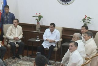WATCH: Duterte meets with Sotto, Alvarez before SONA
