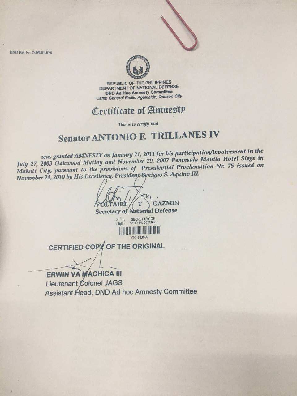 Look Amnesty Documents Of Trillanes Abs Cbn News