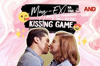 Mag-ex na sina Angelica Panganiban at Carlo Aquino, sumabak sa kissing game