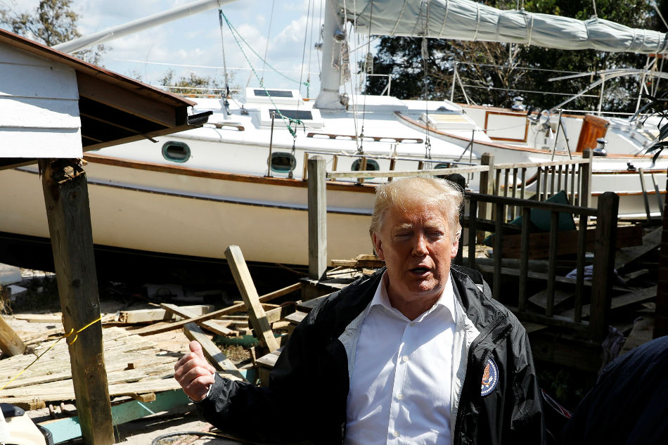 Trump visits Carolinas to assess damage from Hurricane Florence
