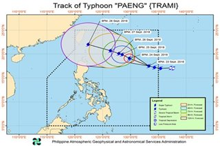 Typhoon Paeng slightly intensifies as it moves towards northern Luzon