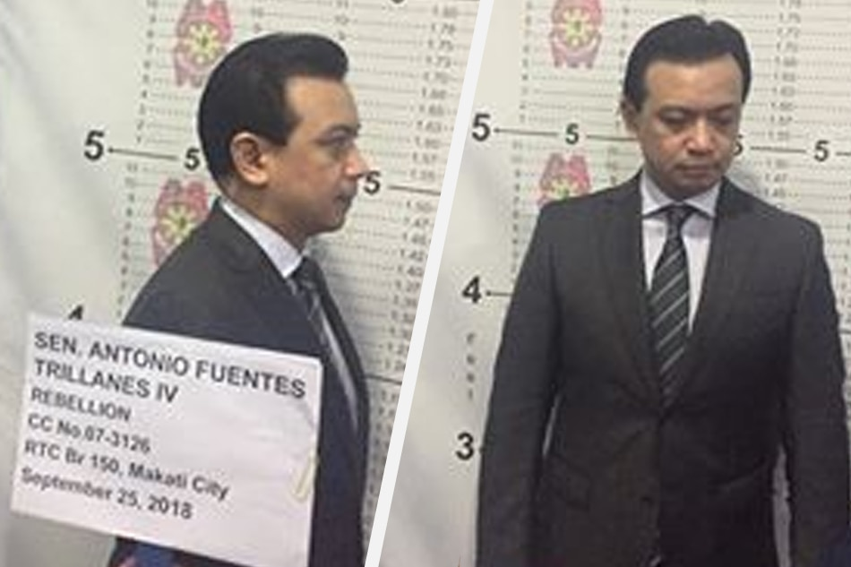 Police take mugshots of Senator Antonio Trillanes IV at the Makati City Police headquarters on Tuesday. Eric Dastas ABS-CBN News