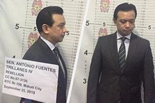 Trillanes undergoes booking procedure, to post bail at Makati RTC