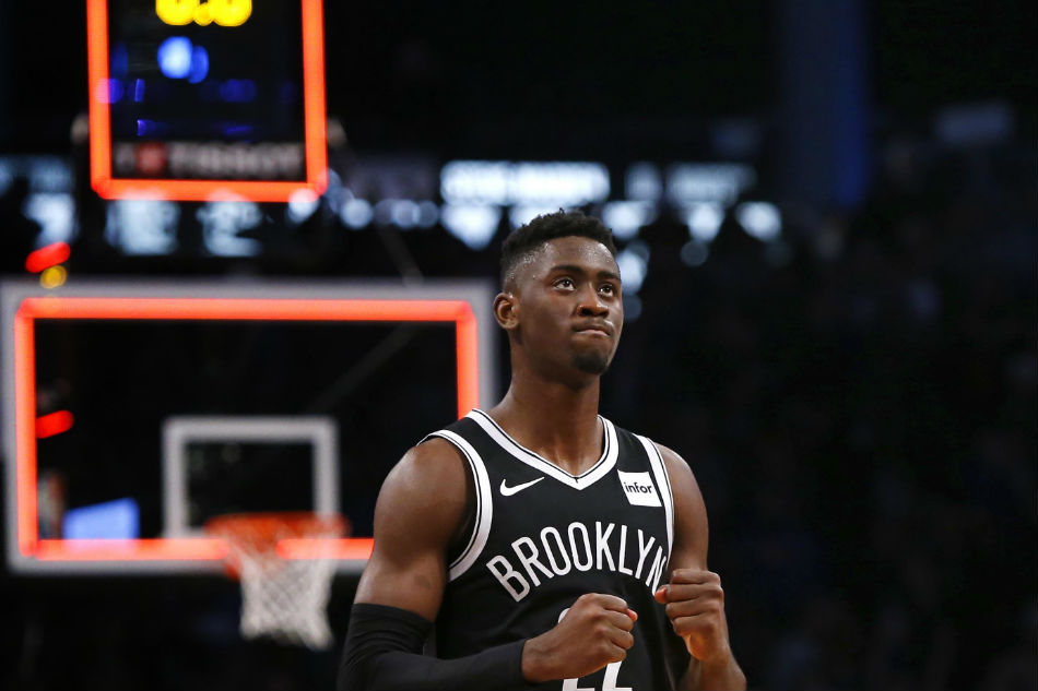 Brooklyn Nets guard Caris LeVert (22) reacts after defeating the New York  Knicks 107-105 at the Barclays Center. Noah K. Murray-USA TODAY Sports  REUTERS ae8d06ee5