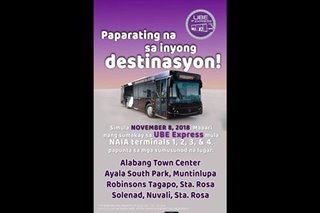 Alabang, Sta. Rosa to NAIA P2P bus trips to start Nov. 8