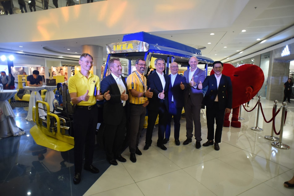 A jeepney painted in IKEA's blue and yellow colors is displayed at the SM Mall of Asia, where the Swedish furniture-maker will build its largest store in the world. Image: George Calvelo/ABS-CBN News