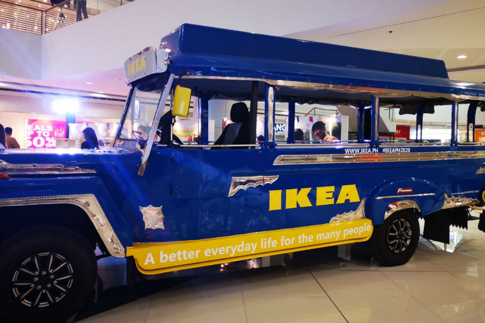 A jeepney painted in IKEA's signature blue and yellow colors is displayed at the SM Mall of Asia where the Swedish furniture giant plans to build its biggest store in the world | Jessica Fenol from ABS-CBN News