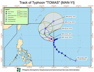Typhoon Tomas to reenter PAR Sunday