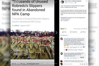 Fact check: No, these Leni slippers were not found at an abandoned NPA camp