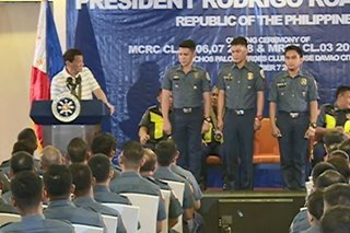 Duterte gives motorcycles to 3 cops who topped police riding course