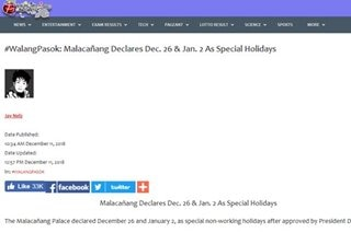 FACT CHECK: No, December 26 and January 2 are not national holidays