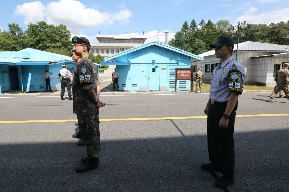 South Korean army soldiers stand guard at the border village of Panmunjom in the Demilitarized Zone South Korea