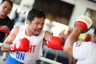 Sparring session ni Pacquiao para sa laban vs Thurman umpisa na