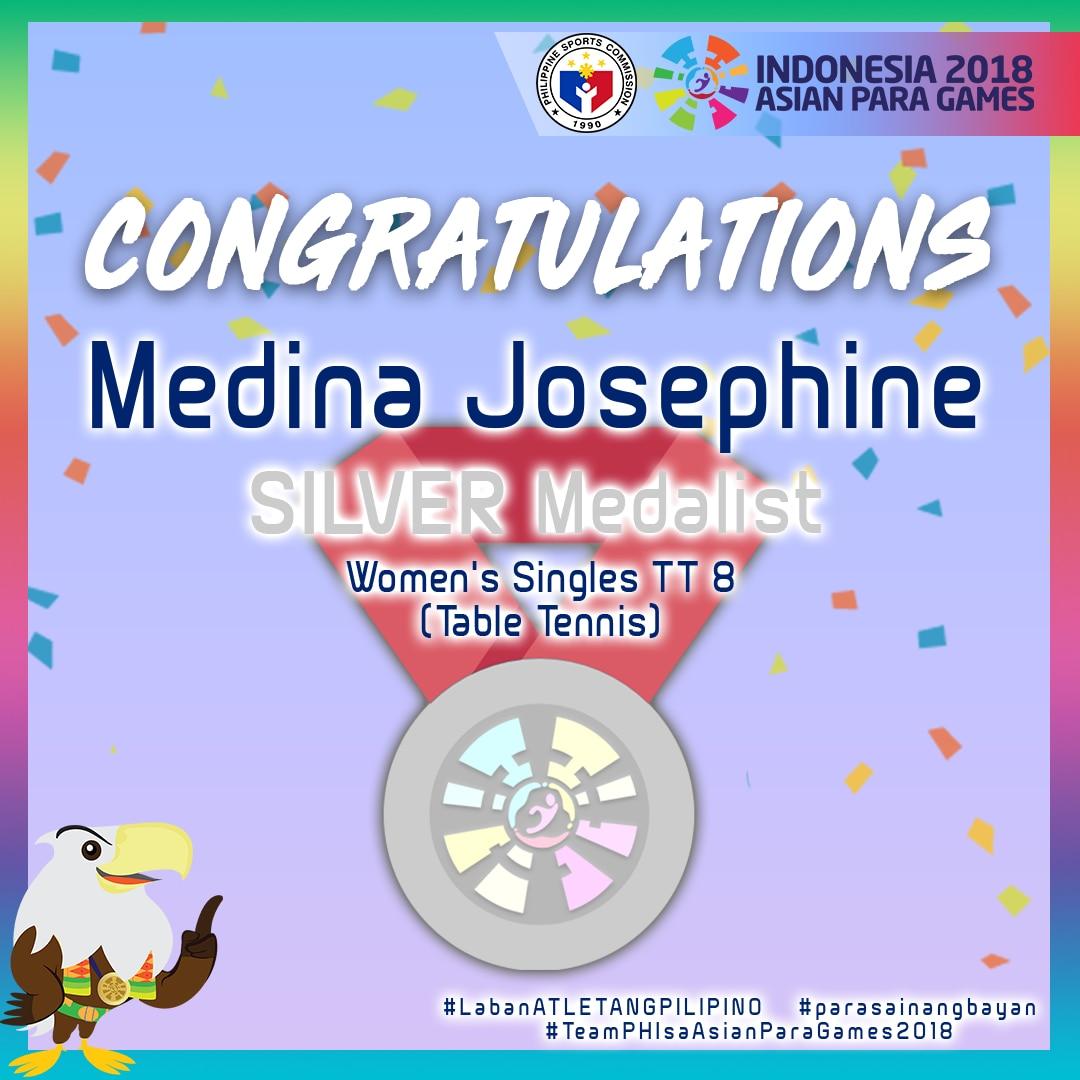 Asian Para Games: Josephine Medina cops silver in table tennis 2