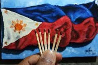 Bandilang gawa sa libo-libong palito ng posporo, nag-viral