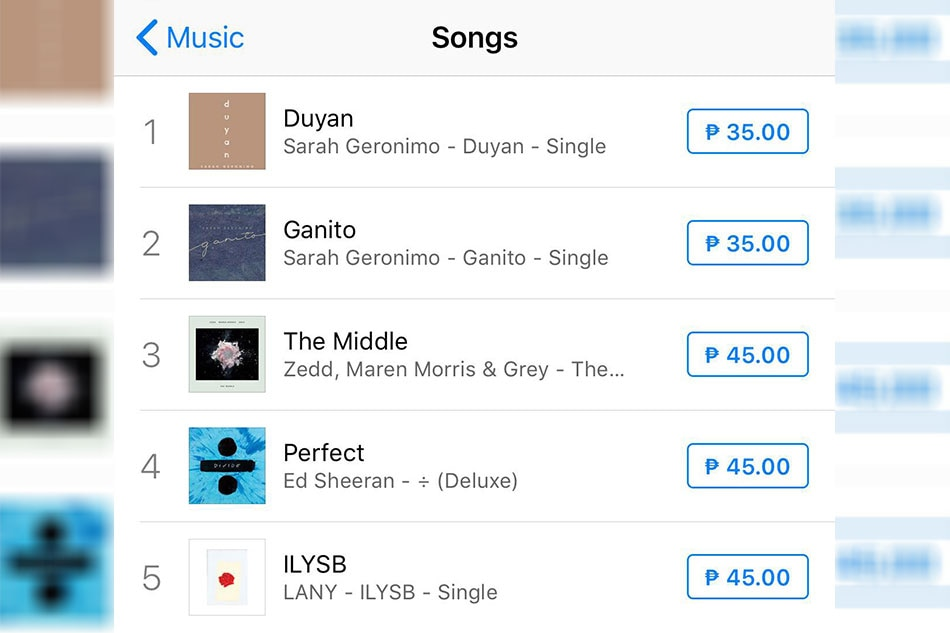Sarah Drops Duyan Tops Itunes Ph Chart Anew  AbsCbn News