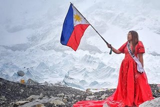 'Changing outdoors was no joke': Pinay wears red gown at Everest base camp